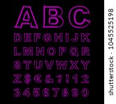 blurred neon font. purple... | Shutterstock .eps vector #1045525198