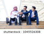 arab shaking business men... | Shutterstock . vector #1045526308