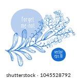 hand drawn vintage forgot me... | Shutterstock .eps vector #1045528792
