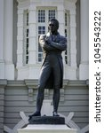 Small photo of Statue of Sir Stamford Raffles in front of Old Town Hall, Singapore.