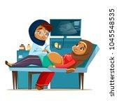 Vector cartoon arab ultrasound pregnancy screening concept. Muslim khaliji doctor woman medical uniform hijab scanning young arabic mother belly looking monitor. Baby health diagnostic illustration