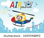 air patrol with funny pilot... | Shutterstock .eps vector #1045548892
