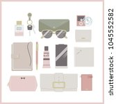 what's in your bag  inside... | Shutterstock .eps vector #1045552582