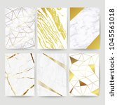 marble with golden texture... | Shutterstock .eps vector #1045561018