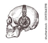 hand drawn human skull with... | Shutterstock .eps vector #1045566598