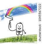 cartoon man painting blue sky... | Shutterstock . vector #1045567222
