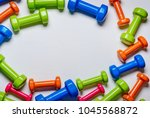 many blue green and one orange... | Shutterstock . vector #1045568872