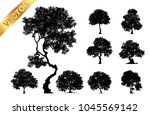 collection  tree silhouette... | Shutterstock .eps vector #1045569142