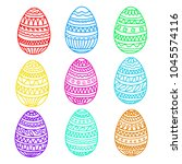 happy easter colorful eggs... | Shutterstock .eps vector #1045574116
