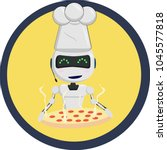 robot chef in the cap with... | Shutterstock .eps vector #1045577818