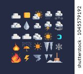 weather symbols pixel art 80s... | Shutterstock .eps vector #1045579192