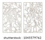 set of contour illustrations... | Shutterstock .eps vector #1045579762