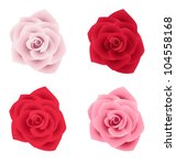 Stock vector set of four roses of various colors vector illustration 104558168