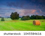 beautiful meadow with bales of... | Shutterstock . vector #1045584616