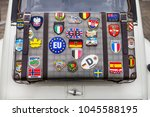 traveller car around the world | Shutterstock . vector #1045588195
