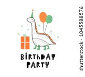 baby print with dino  birthday... | Shutterstock .eps vector #1045588576