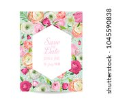 save the date card with blossom ... | Shutterstock .eps vector #1045590838