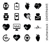 heartbeat icons. set of 16... | Shutterstock .eps vector #1045596445