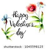 stylized flowers watercolor... | Shutterstock . vector #1045598125