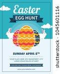 easter egg hunt flyer with eggs ...   Shutterstock .eps vector #1045601116