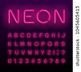 neon lamp alphabet font. neon... | Shutterstock .eps vector #1045605415