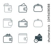 wallet icons. set of 9 editable ... | Shutterstock .eps vector #1045608088