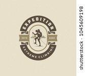 climber logo emblem vector... | Shutterstock .eps vector #1045609198