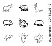 mammal icons. set of 9 editable ... | Shutterstock .eps vector #1045610542