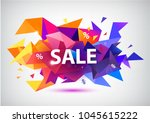 vector sale faceted 3d banner ... | Shutterstock .eps vector #1045615222