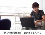 portrait of young handsome...   Shutterstock . vector #1045617742