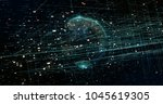 digital data  earth. 3d... | Shutterstock . vector #1045619305