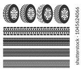 tire shop  tire tracks set... | Shutterstock .eps vector #1045624066