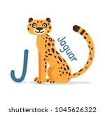 animal alphabet   j for jaguar... | Shutterstock .eps vector #1045626322