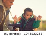 concept of father's day. loving ... | Shutterstock . vector #1045633258