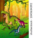 cute cartoon tyrannosaurus ... | Shutterstock .eps vector #1045634392