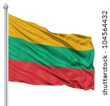 flag of lithuania with flagpole ... | Shutterstock . vector #104564432