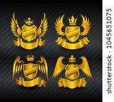 set of golden royal shields...   Shutterstock .eps vector #1045651075
