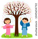 japanese children in... | Shutterstock .eps vector #1045654732