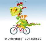 dragon on a bicycle | Shutterstock .eps vector #104565692