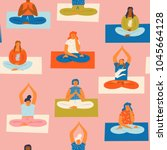 yoga class with people... | Shutterstock .eps vector #1045664128