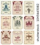vector set of wine labels with... | Shutterstock .eps vector #1045665082