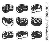 steak icons set. vector | Shutterstock .eps vector #1045667818