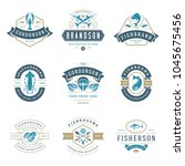 seafood restaurant logos set...   Shutterstock .eps vector #1045675456