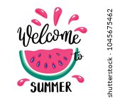 welcome to summer letting... | Shutterstock .eps vector #1045675462