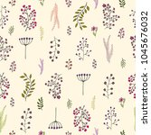 vector vintage seamless floral... | Shutterstock .eps vector #1045676032