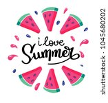 i love summer letting... | Shutterstock .eps vector #1045680202