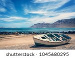 old colorful fishing boat ... | Shutterstock . vector #1045680295