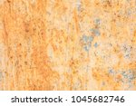 old blue painted wall with rust ... | Shutterstock . vector #1045682746