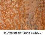 old blue painted wall with rust ... | Shutterstock . vector #1045683022