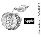 hand drawn ink doodle apple on... | Shutterstock .eps vector #1045690915